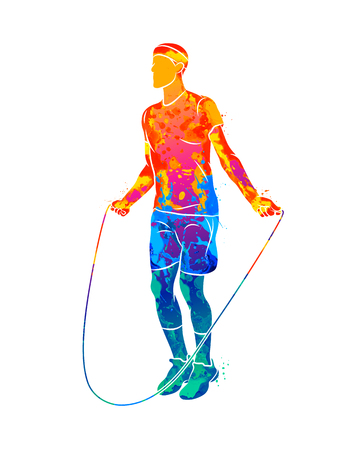 Abstract young athlete jumping rope from splash of watercolors. Vector illustration of paints