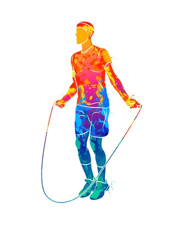 Atleta joven abstracto saltar la cuerda de salpicaduras de acuarelas. Ilustración de vector de pinturas