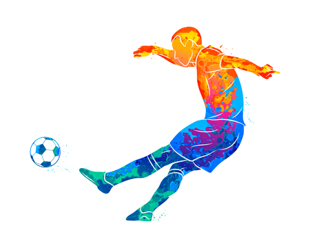 Abstract professional soccer player quick shooting a ball from splash of watercolors. Vector illustration of paints Banco de Imagens - 124796678