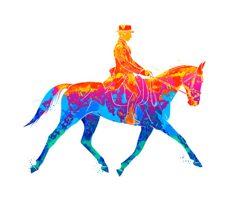Abstract Equestrian sport from splash of watercolors. Jockey in uniform riding horse. Dressage on a white background. Vector illustration of paints