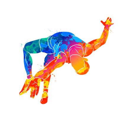 Streszczenie sportowiec skacze na wysokość z pluskiem akwareli. Ilustracja wektorowa farb
