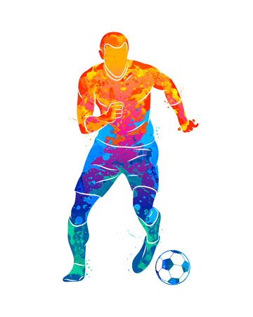 Abstract professional soccer player quick shooting a ball from splash of watercolors. Vector illustration of paints Banco de Imagens - 124732717