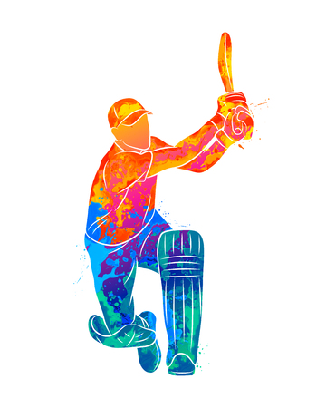 Abstract batsman playing cricket from splash of watercolors. Vector illustration of paints. Banco de Imagens - 124732718