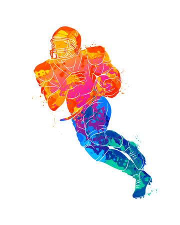 Abstract running American football player from splash of watercolors. Vector illustration of paints