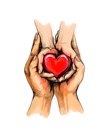 Adult and child hands holding red heart, health care, donate, world heart day, world health day, Happy Mother s day, valentine s day love Ilustração