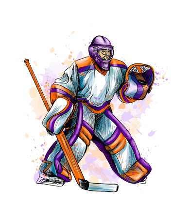 Abstract hockey goalkeeper from splash of watercolors. Hand drawn sketch. Winter sport Ilustração