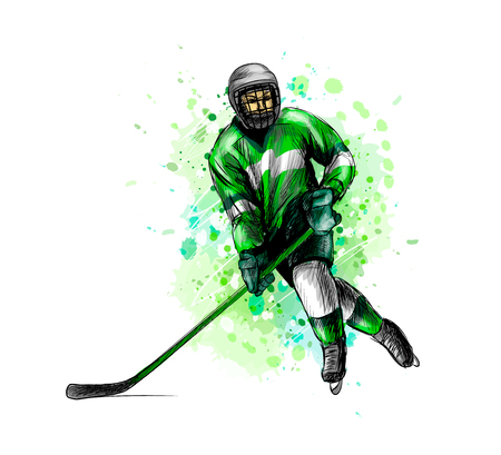 Abstract hockey player from splash of watercolors. Hand drawn sketch. Winter sport. Vector illustration of paints
