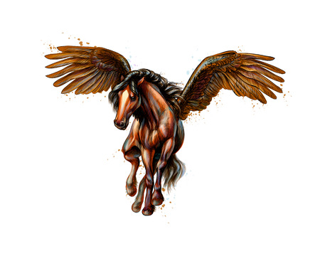 Pegasus mythical winged horse from splash of watercolors. Hand drawn sketch. Vector illustration of paints