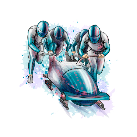 Bobsleigh for four athletes from splash of watercolors. Sports equipment for the bobsleigh race. Winter sport. Vector illustration. Illustration