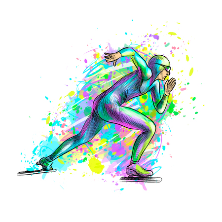 Abstract speed skaters from splash of watercolors. Winter sport Short track. Vector illustration of paints Banco de Imagens - 122743100