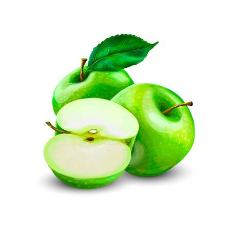 Green Apples with Green Leaves and Apple Slice isolated on white background