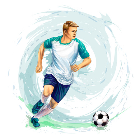 Soccer player with a ball from splash of watercolors Ilustração