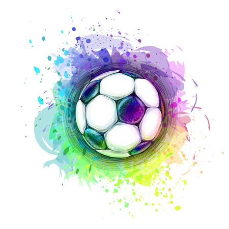 Abstract stylish conceptual design of a digital soccer ball from splash of watercolors Ilustração