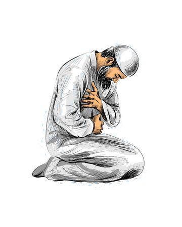 Muslim man praying, hand drawn sketch on white background