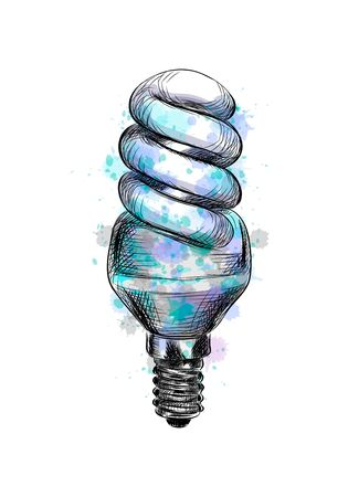 Fluorescent energy saving light bulb from a splash of watercolor, hand drawn sketch