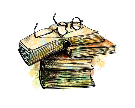 Eyeglasses on top stack books and open book from a splash of watercolor, hand drawn sketch. Vector illustration of paints Banco de Imagens - 126045667