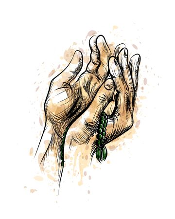 Praying hands with rosary, Hand Drawn Sketch Ilustração