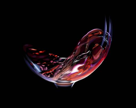 Splash of red wine in a glass isolated on a black background