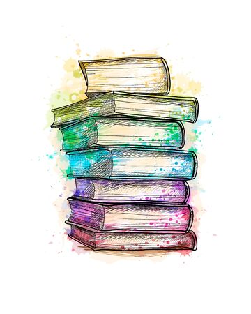 Stack of multi colored books from a splash of watercolor, hand drawn sketch Ilustração