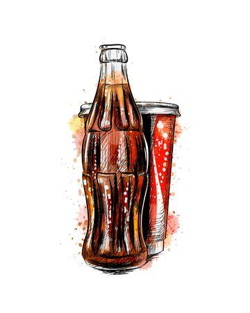 Botella de refresco de vidrio y vidrio de un toque de acuarela, boceto dibujado a mano. Ilustración de vector de pinturas