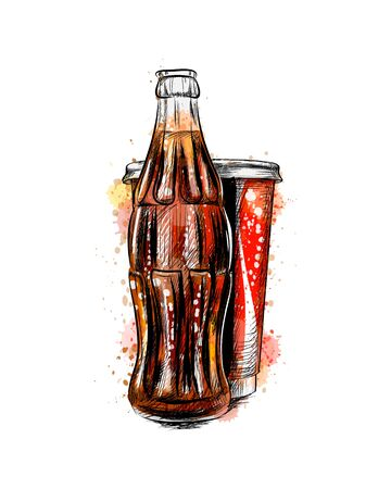 Glass soda bottle and glass from a splash of watercolor, hand drawn sketch. Vector illustration of paints