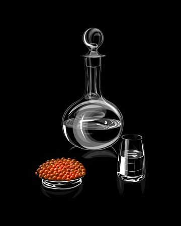 Decanter or carafe with glass and red caviar