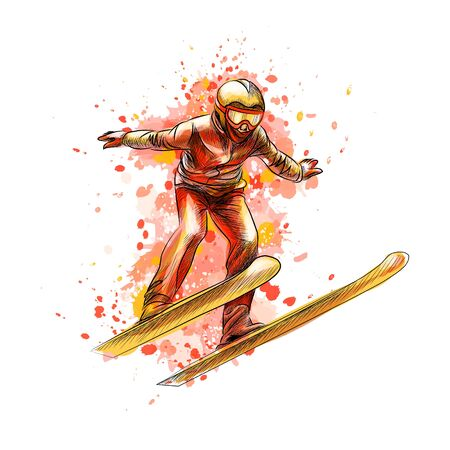 Abstract jumping skier from a splash of watercolor