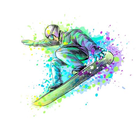 Abstract snowboarder from a splash of watercolor