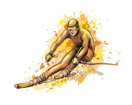 Abstract biathlete from a splash of watercolor Ilustração
