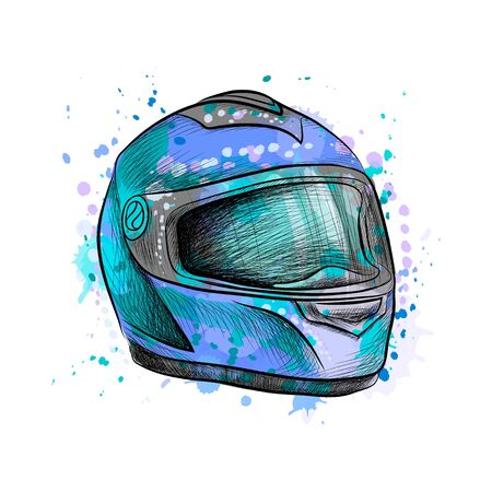 Motorcycle helmet from a splash of watercolor, hand drawn sketch. Vector illustration of paints Ilustração