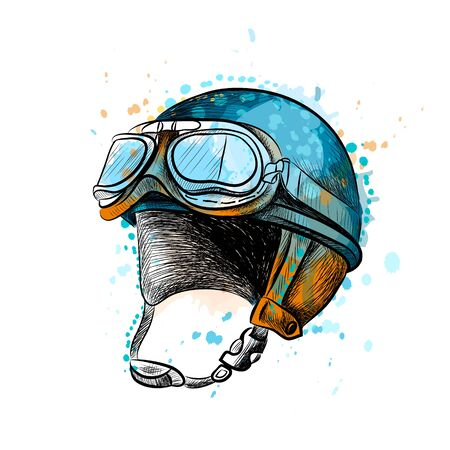 Vintage motorcycle classic helmet with goggles from a splash of watercolor, hand drawn sketch. Vector illustration of paints