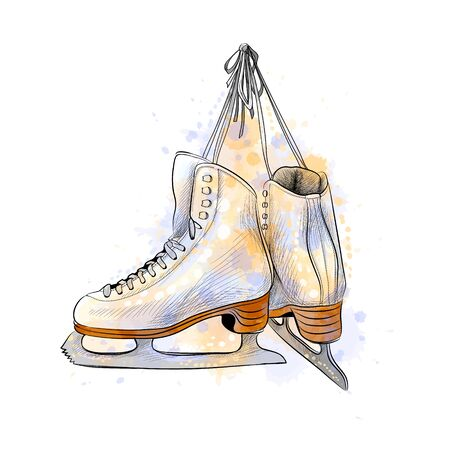 Pair of figure ice skates from a splash of watercolor, hand drawn sketch. Vector illustration of paints