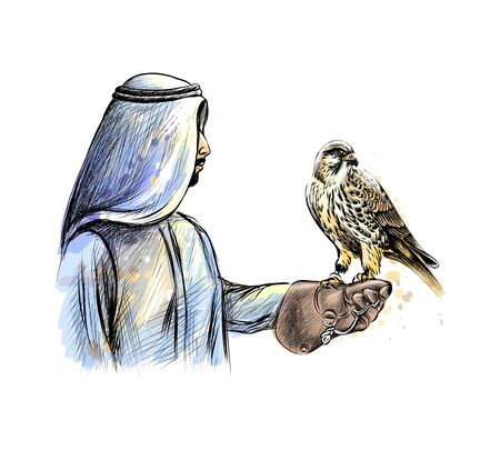 Arabian man with a falcon from a splash of watercolor, hand drawn sketch. Vector illustration of paints Фото со стока - 130637179