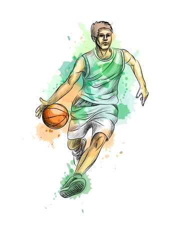 Abstract basketball player with ball from a splash of watercolor, hand drawn sketch. Vector illustration of paints Banco de Imagens - 130637552