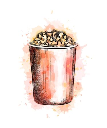 Paper cup with popcorn from a splash of watercolor, hand drawn sketch. Vector illustration of paints