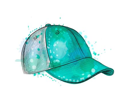 Abstract baseball cap from a splash of watercolor, hand drawn sketch. Vector illustration of paints