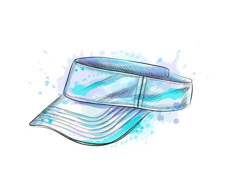 Tennis cap, visor cap from a splash of watercolor, hand drawn sketch. Vector illustration of paints