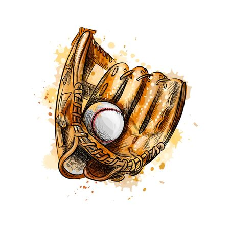 Baseball glove with ball from a splash of watercolor, hand drawn sketch. Vector illustration of paints