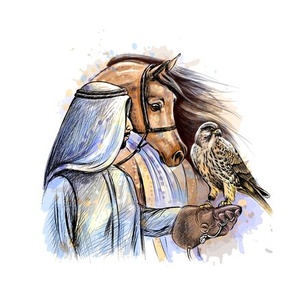 Arabian man with a falcon and a horse from a splash of watercolor, hand drawn sketch. Vector illustration of paints
