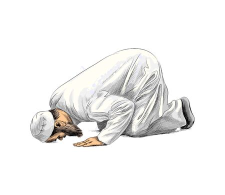 Muslim man praying, hand drawn sketch. Vector illustration of paints
