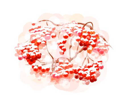 Bunch rowan berries from splash of watercolors. Hand drawn sketch. Vector illustration of paints Ilustração