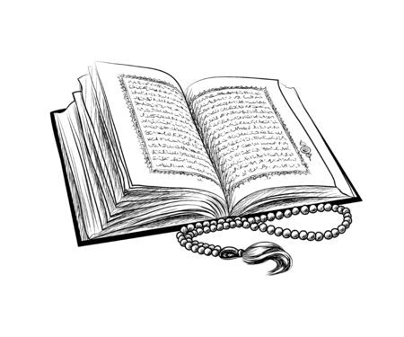Holy book of Koran with rosary. Muslim holiday, Eid Mubarak, Eid al-fitr, Ramadan Kareem. Hand drawn sketch