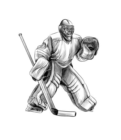 Hockey goalie player. Hand drawn sketch. Winter sport