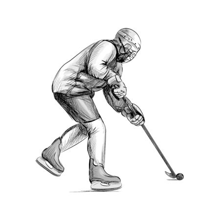 Hockey player. Hand drawn sketch. Winter sport Ilustração