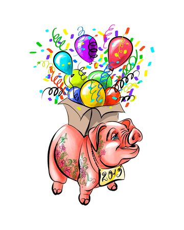 Chinese Zodiac Sign Year of Pig, Happy Chinese New Year 2019 year of the pig