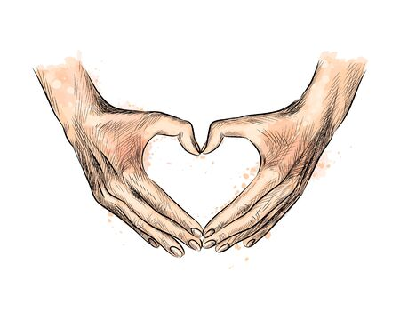 Hands in the shape of heart from a splash of watercolor Vectores