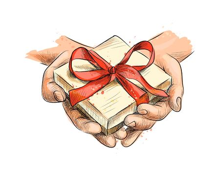 Female hands holding a small gift wrapped with red ribbon
