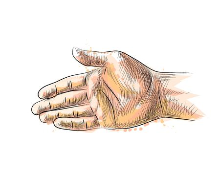 Hand gesture, stretching hand to handshake from a splash of watercolor, hand drawn sketch. Vector illustration of paints Foto de archivo - 130826004