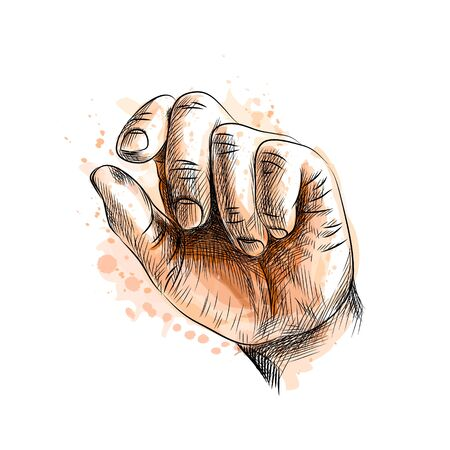 Hand showing size gesture from a splash of watercolor, hand drawn sketch. Vector illustration of paints
