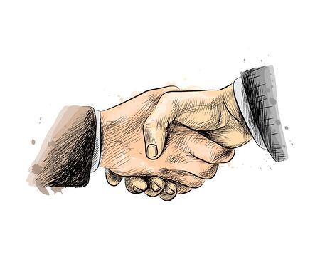 Business people shaking hands, finishing up meeting Vectores